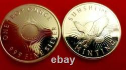 1 Troy Ounce 0.999 Pure (Fine) Silver Round the Sunshine Mint-Mark Eagle Round