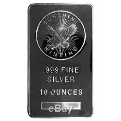10 Troy oz Sunshine Mint. 999 Fine Silver Bar Mint Mark SI Sealed