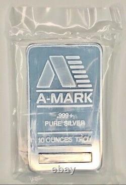 10 oz. 999+ Fine Silver Bar, A-MARK, in Original Mint Sealed Plastic