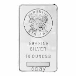 10 oz Sunshine Mint Silver Bar. 999 Fine Silver New MintMark SI
