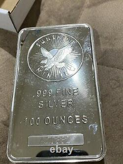 100 oz Silver Bar Sunshine (MintMark SI) Gorgeous Shiny Bar. Inflation Hedge