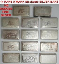 14 LOT RARE Vintage STACKABLE A-Mark 10 OZ. 999 Fine Silver Bar Assay 140 OUNCES