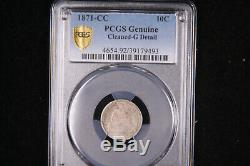 1871-CC Seated Liberty Dime. Very Rare Date and Mint Mark. Fresh From Graders