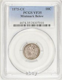 1875-CC Mintmark Below Seated Liberty Dime PCGS VF35 Better Date! #BSO4