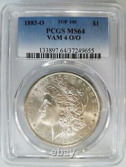 1883 O Silver Morgan Dollar PCGS MS 64 VAM 4 O/O Repunched Mint Mark Error