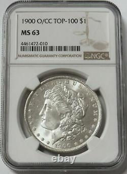 1900 O/cc Over Mint-mark Morgan Silver $ 1 Dollar Ngc Mint State 63