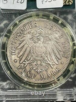 1902 Germany Baden 5 Mark PCGS MS66 Lot#G928 Silver! Gem BU! OGH
