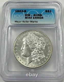 1902-S Morgan Dollar Silver S$1 ICG AU58 Mint Error Major Roller Marks