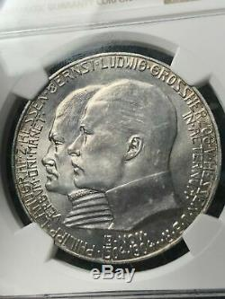 1904 Germany Hesse-Darmstadt 5 Marks NGC MS64+ Lot#G599 Silver! Exceptional