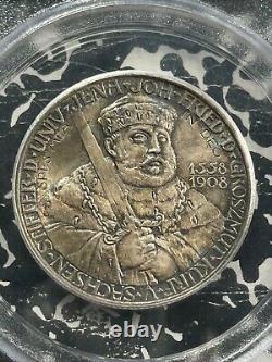 1908 Germany Saxe-Weimar 2 Mark PCGS MS67 Lot#G929 Silver! Gem BU! OGH