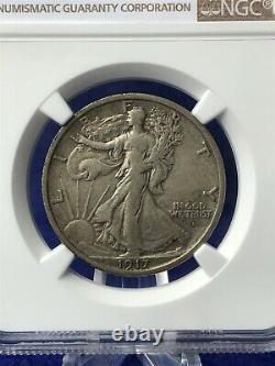 1917-D OBVERSE MINT MARK WALKING LIBERTY HALF DOLLAR 50c NGC VF35 VERY FINE