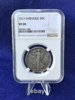 1917-D REVERSE MINT MARK WALKING LIBERTY HALF DOLLAR 50c NGC VF20 VERY FINE