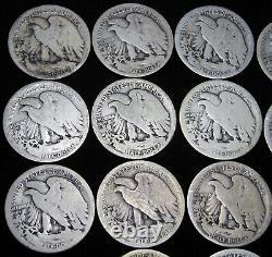1917-S Obverse Mint Mark Walking Liberty Half Dollar Silver Lot of 14 - #DDD