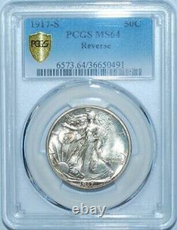 1917 S PCGS MS64 Reverse Mint Mark Walking Liberty Half Dollar