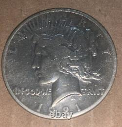 1921 PEACE DOLLAR No Mint Mark Scratches On Front & Back May Have Been Cleaned
