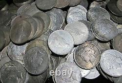 1922-1926 US $1 Silver Peace Dollars, Mixed Dates & Mint Marks, F+, LOT OF 50