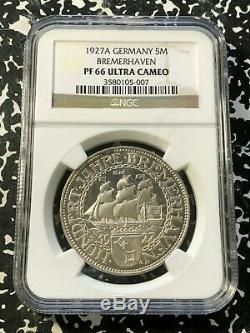 1927-A Germany 5 Mark Bremerhaven NGC PR66 Ultra Cameo Lot#G222 Silver