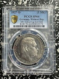 1927-D Germany Hindenburg Goetz 5 Mark PCGS SP64 Lot#G1128 Silver! KM#X1