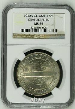 1930 A Germany Silver 5 Mark Graf Zeppelin NGC Mint State MS 65
