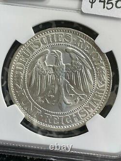 1932-A Germany 5 Mark Oak Tree NGC MS64 Lot#G1079 Silver! Choice UNC