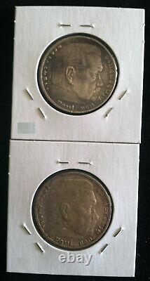 1937 Germany Third Reich Silver 5 Mark (with swastika) Six Coin Mint Mark Set