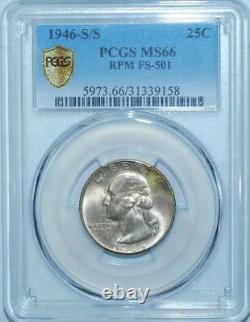 1946 S/S PCGS MS66 FS-501 RPM Repunched Mint Mark Washington Quarter
