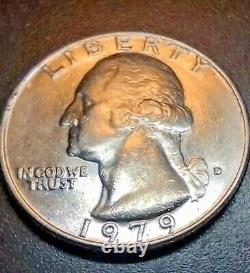 1979 Washington Quarter Extreme Doubling on Obverse/Filled D Mint Mark Error