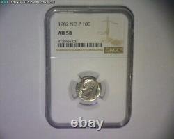 1982 Roosevelt Dime No P Mint Mark Rare Fs-501 Strong Strike Us Error Coin