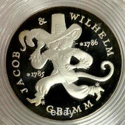 1986 Germany DDR Silver Proof 20 Mark Brothers Grimm Puss in Boots Berlin Mint