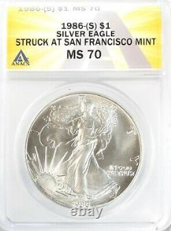 1986 (S) American Silver Eagle $1 Gem Uncirculated ANACS MS70 NO MINTMARK