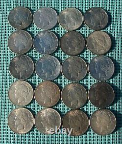 (20) TWENTY Peace Dollars (1922- 1926 mixed mint marks)