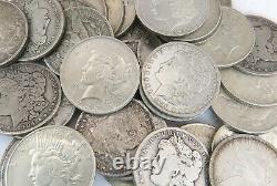 20 pc Lot of Morgan & Peace Dollar Silver Coin 1885-1935 G-VF Mixed Mint Marks