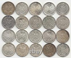 20 x 1 Mark Münze Deutschland Kaiserreich Silber Silver Coin Sammlung Lot
