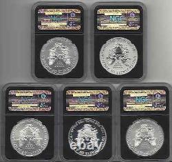 2011 anniversary set ngc 70 5 coins BLACK CORE s rp w-ms w -pf no mint mark