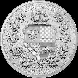 2019 Germania Mint 50 Mark Allegories Britannia & Germania 10 oz Silver Coin