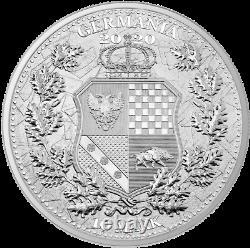 2020 2 oz Silver Allegories Germania & Italia 10 Mark Coin Round 2500 Minted