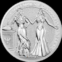 2020 5 oz Silver Allegories Germania & Italia 25 Mark Coin Round Only 500 Minted