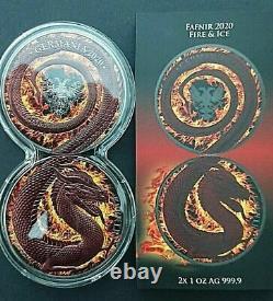 2020 Germania Mint 5 Mark Fafnir Fire & Ice Dragon Colored 2x Silver 1oz Coin