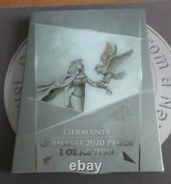 2020 Germania Mint. 999 Silver Proof 1oz 5 Marks Coin + Fantastic Box With COA