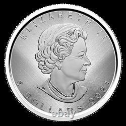 2021 1 oz. Pure Silver Coin W Mint Mark Silver Maple Leaf Winnipeg Canada