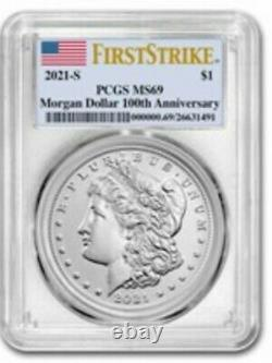2021 Morgan Silver Dollar MS69 S and D Mint Marks PCGS Set of 2 Morgans Presale
