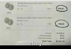 2021 Morgan Silver Dollars. Get Both Mint Marks CC & O FREE SHIPPING