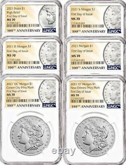 2021 (p) Peace & CC & O Privy S & D & P Mint Mark Morgan's 6 Coin Set Fdoi Hot