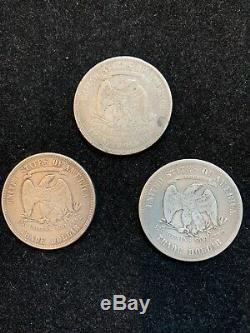 3 PC LOT TRADE DOLLARS (2)1877-P (1)1877-S VF no chop marks