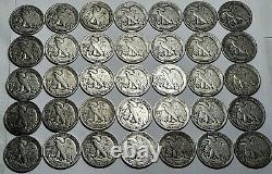 35 S Mint Mark Walking Liberty Half Dollars 90% Silver US Coins Lot # 21
