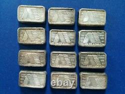 (6) 1981 A-Mark 1 oz. 999 Silver Bars U. S. V. I. Ingot (lot 190S)