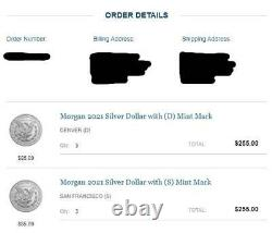 6x Morgan 2021 Silver Dollars. 3x with (D) and 3x with (S) Mint Mark CONFIRMED