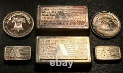 A-Mark Silver Bars Rounds Lot 24 Oz Ten Ounce Stackers 1 Oz Chunky's 1984 1985