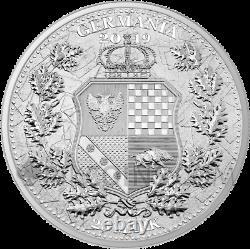 ALLEGORIES COLUMBIA & GERMANIA 25 Mark 2019 SILVER 5oz GERMANIA MINT