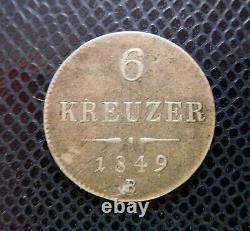 AUSTRIA HUNGARY / SILVER 6 KREUZER / 1849 B / Kremnitz rare mintmark